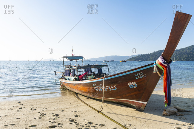 January 26, 2020: Fishing boat in Sunset Beach, Koh Lipe, Tarutao National Park, Thailand, Southeast Asia, Asia