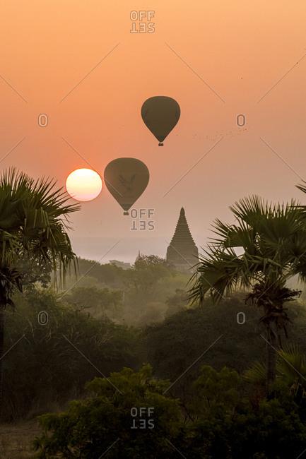February 5, 2020: Hot air balloons over Bagan at sunrise, Bagan (Pagan), Myanmar (Burma), Asia