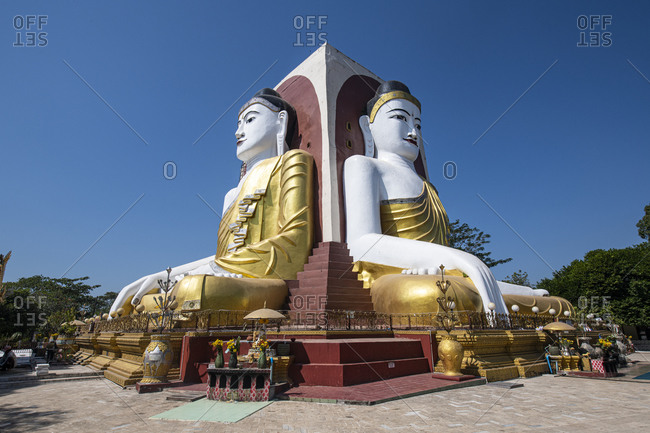 January 9, 2020: Four Seated Buddhas, Kyaikpun Buddha, Bago, Myanmar (Burma), Asia