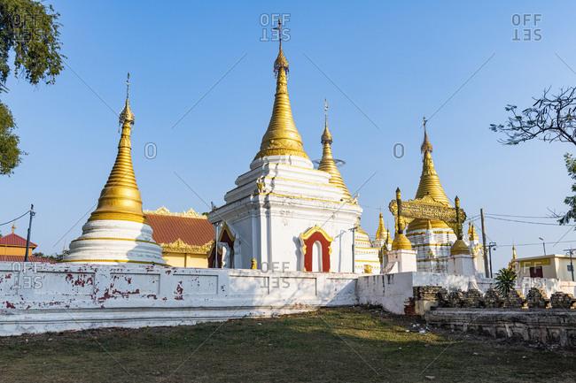 February 1, 2020: Lawka Tharahpu Pagoda, Inwa (Ava), Mandalay, Myanmar (Burma), Asia