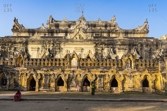 February 1, 2020: Maha Aungmye Bonzan Monastery, Inwa (Ava), Mandalay, Myanmar (Burma), Asia