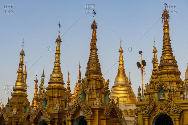 January 7, 2020: Shwedagon pagoda, Yangon (Rangoon), Myanmar (Burma), Asia