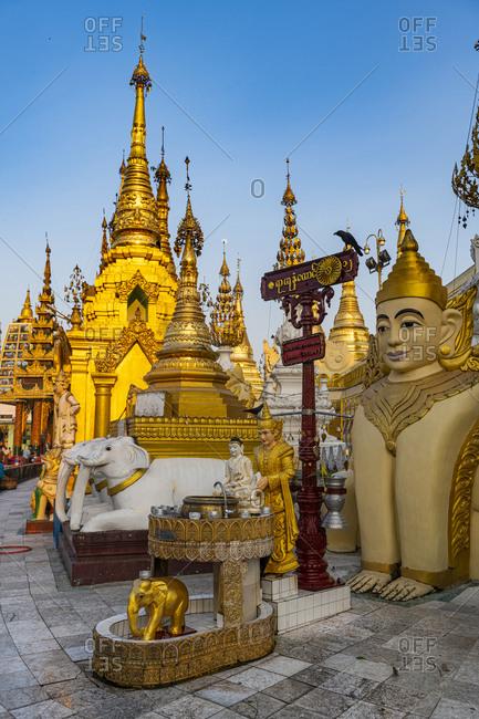 January 8, 2020: Shwedagon pagoda at sunset, Yangon (Rangoon), Myanmar (Burma), Asia