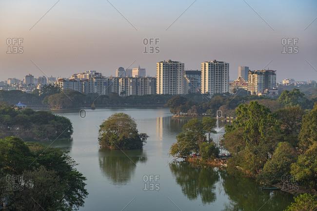 February 13, 2020: View over Kandawgyi Lake, Yangon (Rangoon), Myanmar (Burma), Asia