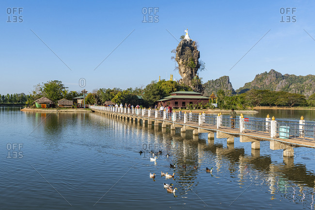 January 10, 2020: Little pagoda on a rock, Kyauk Kalap, Hpa-An, Kayin state, Myanmar (Burma), Asia