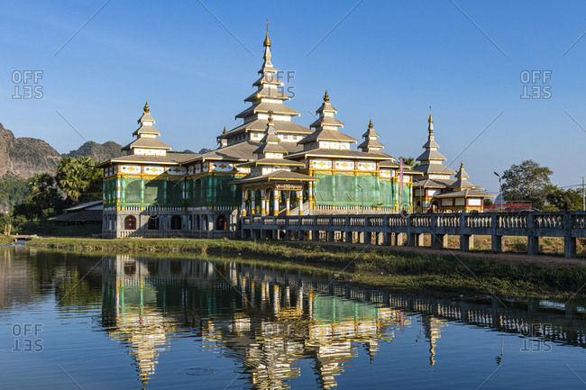 January 10, 2020: Monastery in an artificial lake, Kyauk Kalap, Hpa-An, Kayin state, Myanmar (Burma), Asia