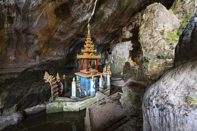 January 11, 2020: Cave filled with buddhas, Saddan Cave, Hpa-An, Kayin state, Myanmar (Burma), Asia