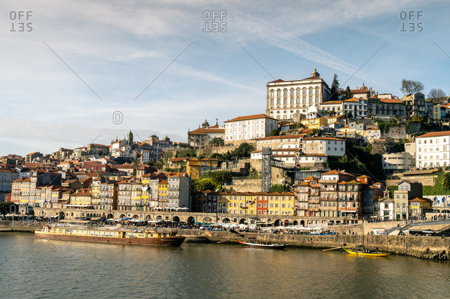 February 14, 2020: The district of Ribeira on the Porto side of the River Douro, UNESCO World Heritage Site, Porto, Portugal, Europe