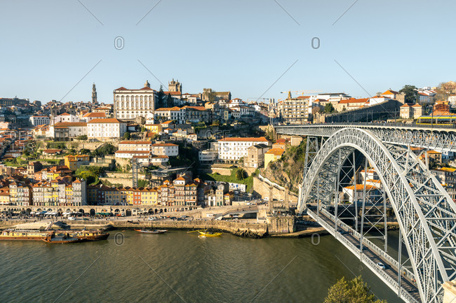 February 17, 2020: The Dom Luis I Bridge and Ribeira district of Porto, UNESCO World Heritage Site, viewed from the Gaia Cable Car, Porto, Portugal, Europe