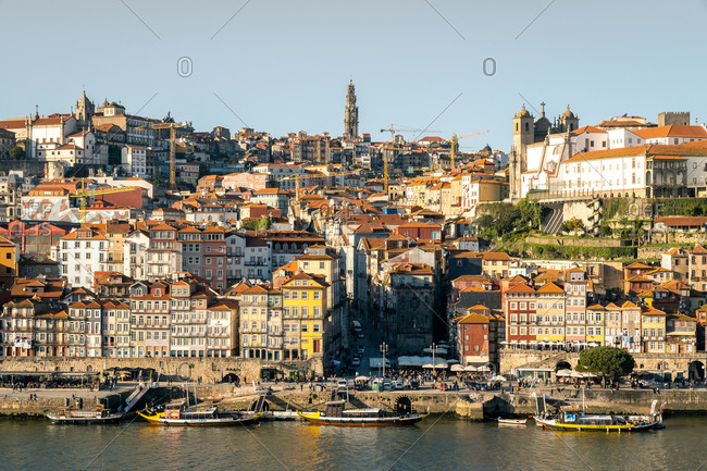 February 17, 2020: The view over the Douro River looking towards the Ribeira district of Porto, UNESCO World Heritage Site, Porto, Portugal, Europe