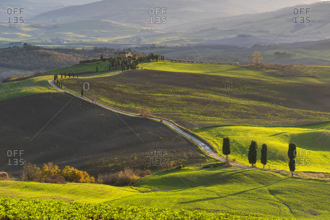 December 7, 2019: Rolling landscape with farm house, Tuscany, Italy, Europe