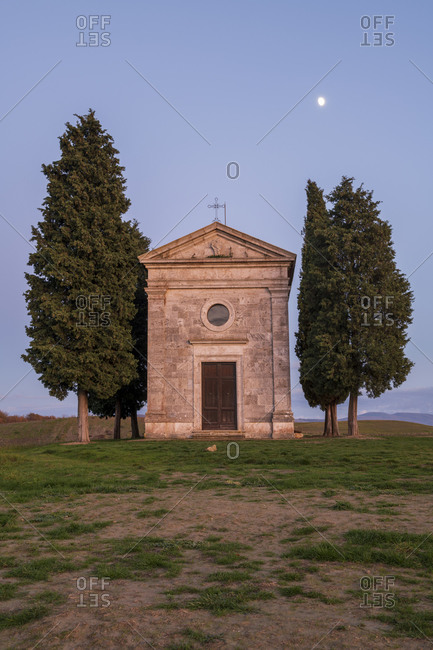 Vitaleta Church (Madonna di Vitaleta) with moon, San Quirico d'Orcia, Val d'Orcia, UNESCO World Heritage Site, Tuscany, Italy, Europe