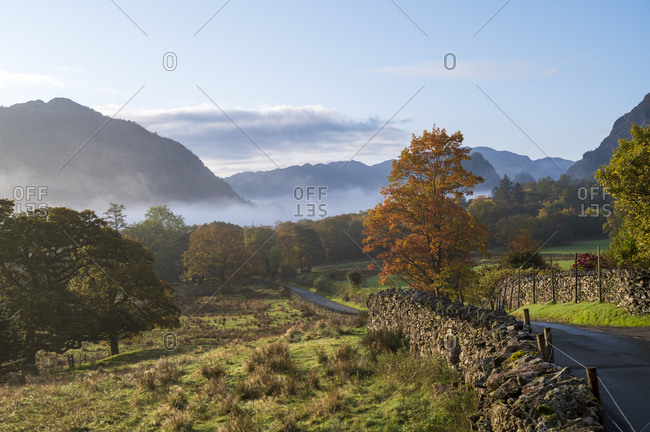 Autumn scene, Borrowdale, Lake District National Park, UNESCO World Heritage Site, Cumbria, England, United Kingdom, Europe