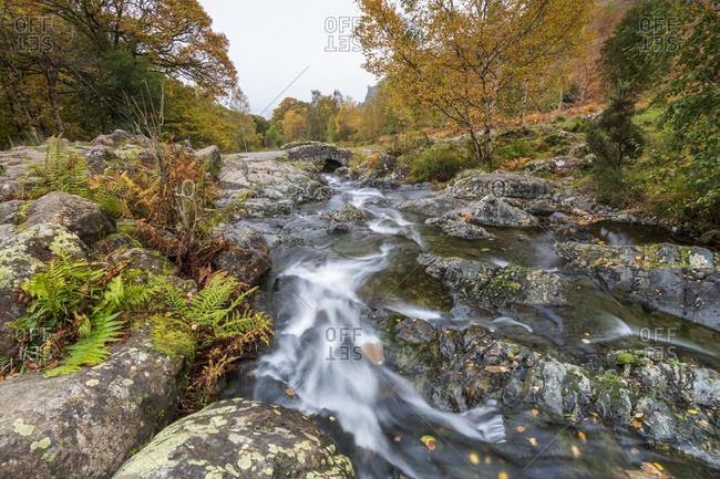 Ashness Bridge and river in autumn, Lake District National Park, UNESCO World Heritage Site, Cumbria, England, United Kingdom, Europe