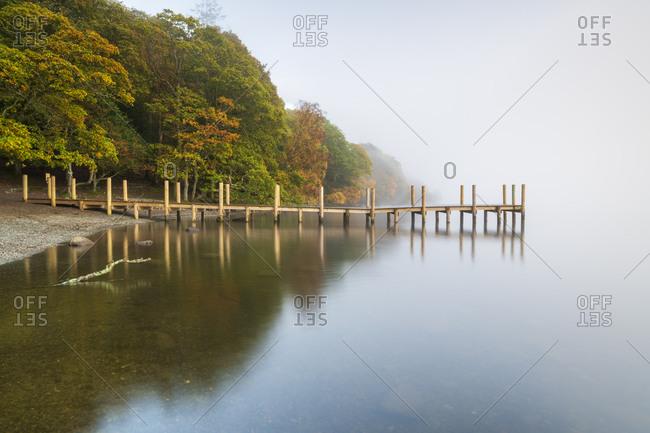 October 19, 2019: Brandlehow Jetty at Derwentwater, Lake District National Park, UNESCO World Heritage Site, Cumbria, England, United Kingdom, Europe