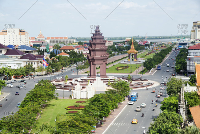 November 16, 2014: Overlooking Independence Monument and Tonle Sap River, Phnom Penh, Cambodia, Indochina, Southeast Asia, Asia