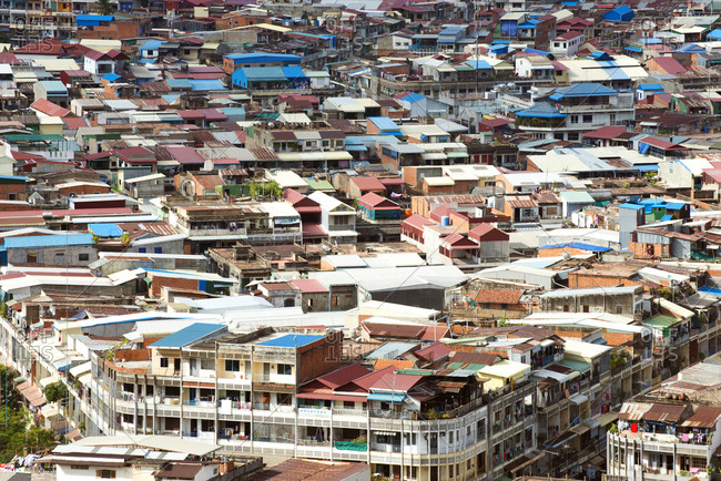 November 16, 2014: Colorful rooftops of Phnom Penh, capital city of Cambodia, Indochina, Southeast Asia, Asia