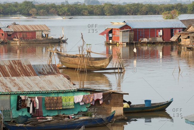Floating village at Tonle Sap Lake, Cambodia, Indochina, Southeast Asia, Asia
