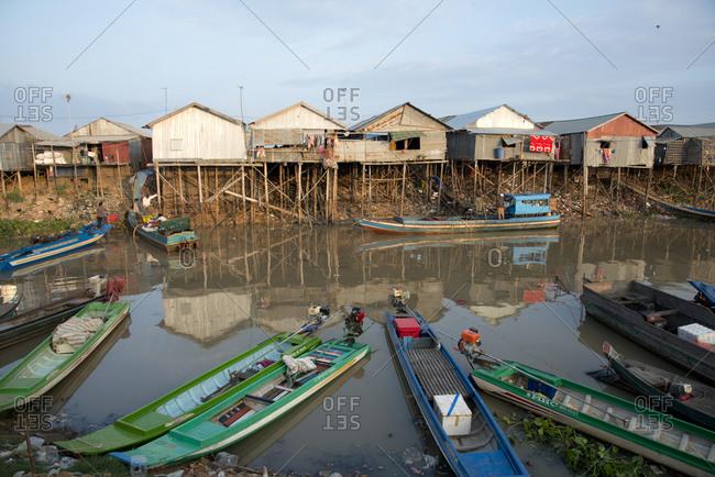 November 20, 2014: Houses on stilts at Tonle Sap Lake, Cambodia, Indochina, Southeast Asia, Asia