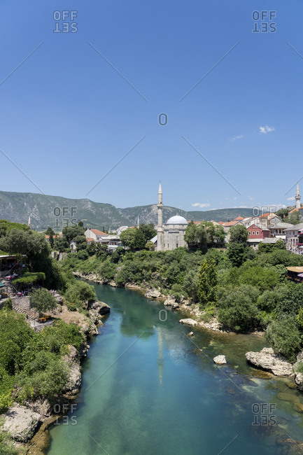 June 29, 2019: Koski Mehmed Pasha Mosque by the Neretva River in Mostar, Bosnia and Hercegovina, Europe