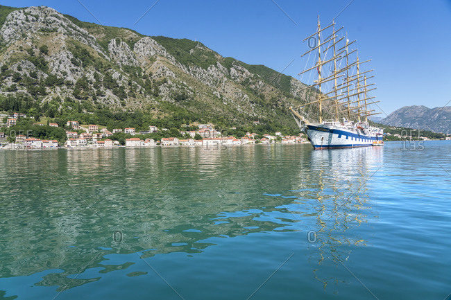 June 30, 2019: Royal Clipper in Kotor, Montenegro. Worlds largest full-rigged sailing ship.