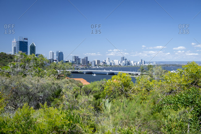 November 5, 2019: View of the City of Perth from Kings Park, Perth, Western Australia, Australia, Pacific