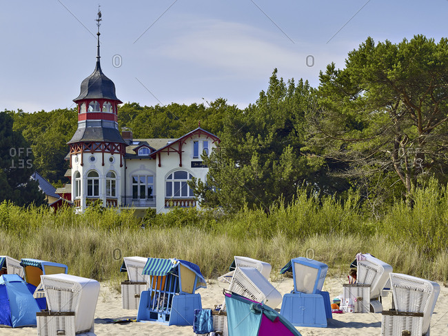 July 24,  2016: House by the sea with beach in Ostseebad Zinnowitz, Usedom, Mecklenburg-Vorpommern, Germany