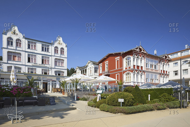 July 23,  2016: Hotel Germania and Kaiser Wilhelm on the beach promenade, Baltic resort of Bansin, Usedom Island, Mecklenburg Western Pomerania, Germany