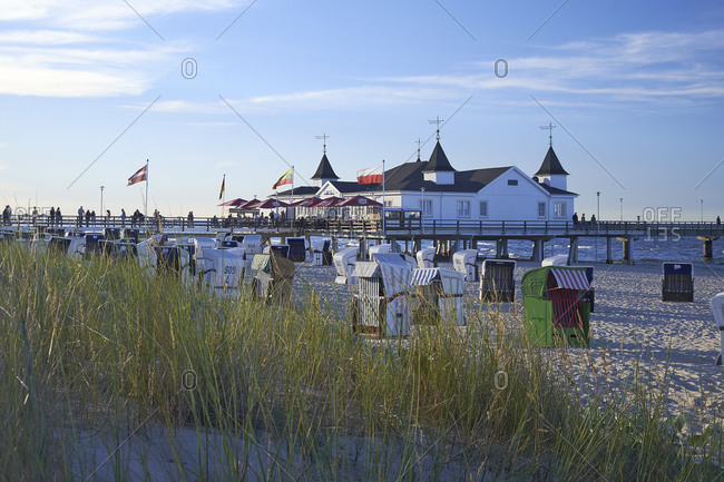 July 22,  2016: Pier in Ahlbeck, Usedom, Mecklenburg Western Pomerania, Germany