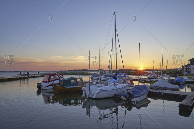 July 21,  2016: Sunset at the marina of Eckert, Usedom Island, Mecklenburg-Vorpommern, Germany