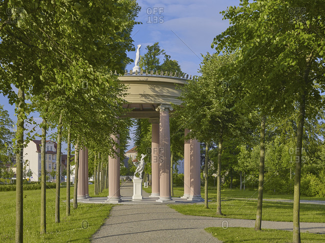 June 19,  2016: Lifting temple in the castle park of Neustrelitz, Mecklenburg-Vorpommern, Germany