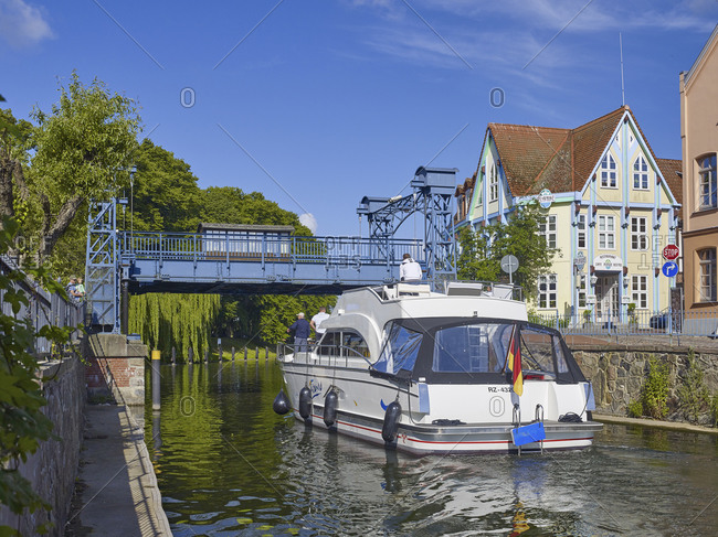 June 20,  2016: Lift bridge on Elde canal in Plau am See at the Muritz-Elde waterway, Mecklenburg Western Pomerania, Germany