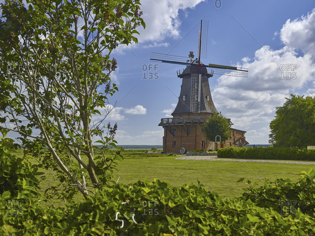 Smock mill in Goldberg Mildenitz, Mecklenburg Western Pomerania, Germany