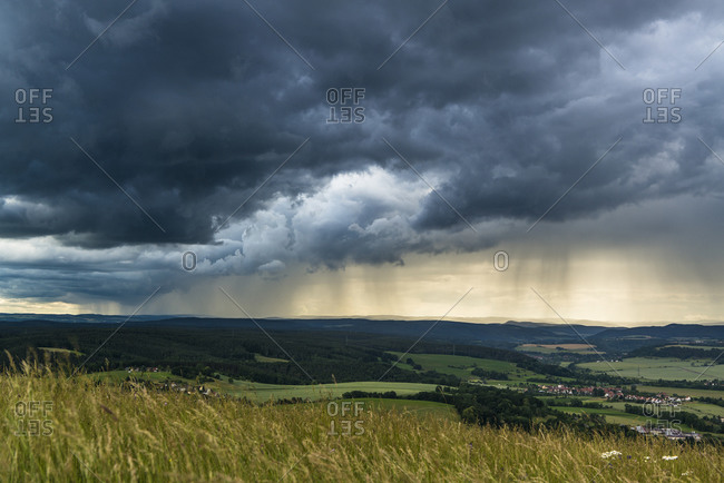 Thunderstorm at the Leuchtenburg, Seitenroda, Thuringia, Germany