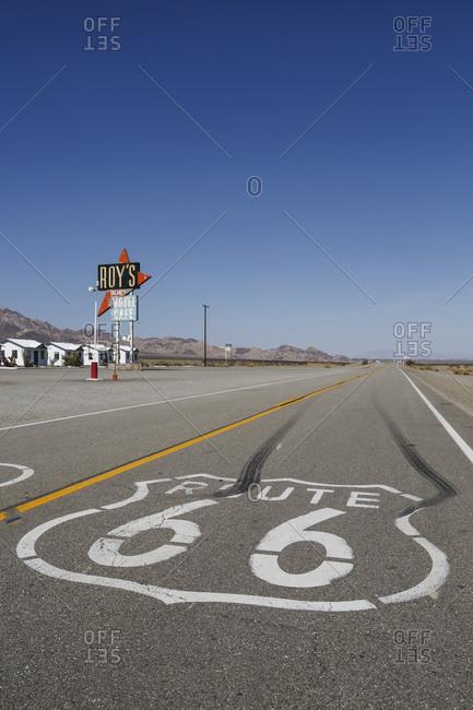 June 7,  2016: Roy's Motel and Cafe, Amboy, Mojave Desert, San Bernardino County, California, United States