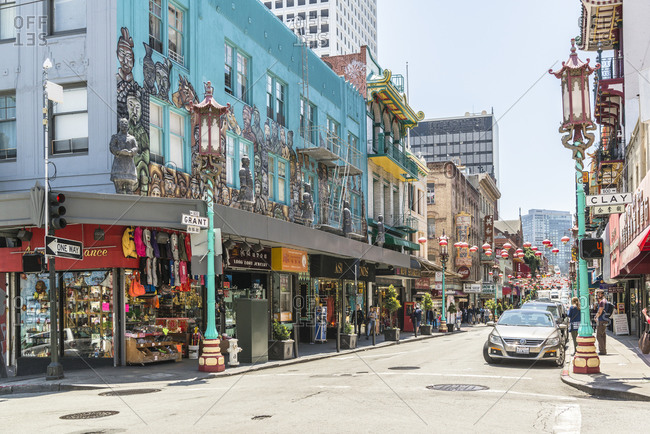 May 26,  2016: Street scene, Chinatown, San Francisco, California, USA