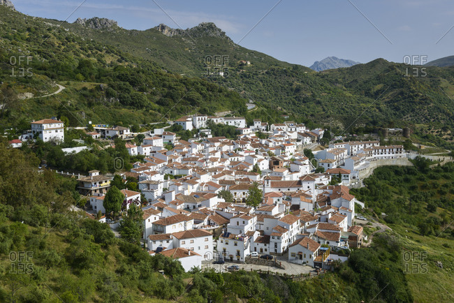 Towns nestled in valley in Andalucia, Spain