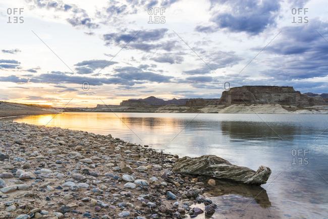 Sunset at Lone Rock Beach, Page, Lake Powell, Colorado River, Arizona, USA