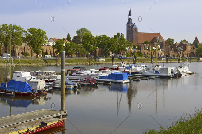 May 19,  2016: Cityscape from harbor with St Stephen Church, Tangermuende, Saxony-Anhalt, Germany