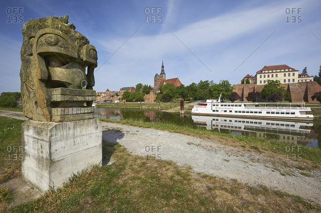 May 19,  2016: Beobachter with city view from Tangermunde, Saxony-Anhalt, Germany