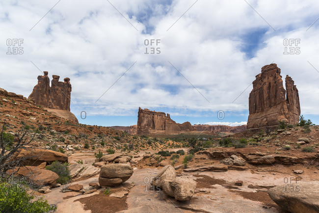 Courthouse Towers, Tower of Babel, The Organ, Three Gossips, Arches National Park, Utah, USA