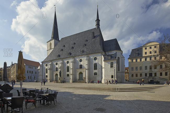 April 14,  2016: Herderplatz with Herder Church in Weimar, Thuringia, Germany