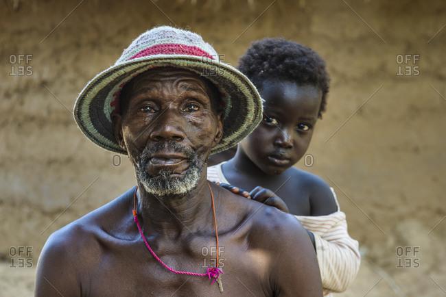 March 12,  2016: Mandinka grandfather and grandchildren,  The Gambia