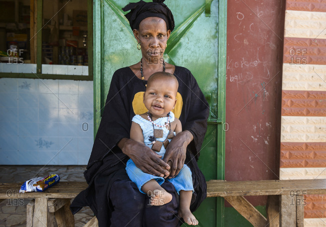 March 11,  2016: A Peul grandmother and her grandson. The Gambia