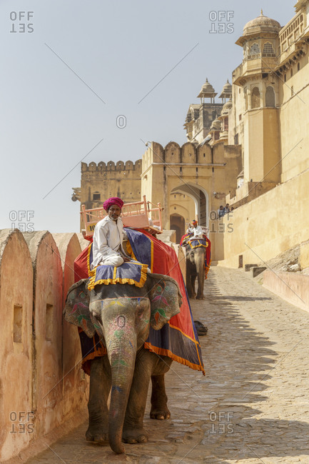 February 28,  2016: Fortress of Amber, Amber Fort, Jaipur, Rajasthan, India