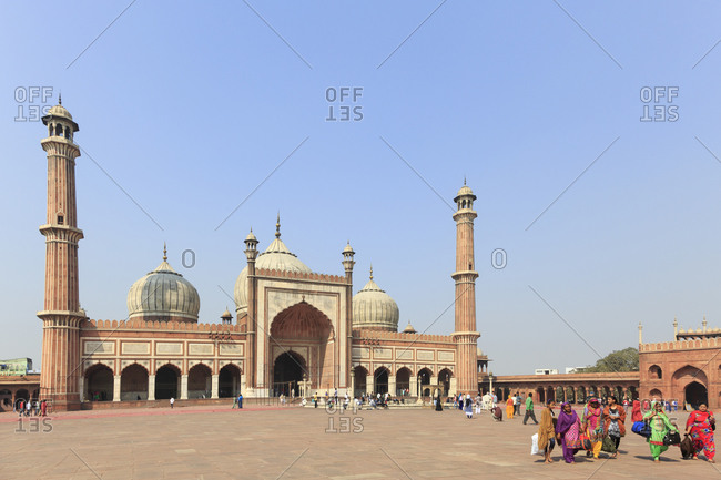 February 26,  2016: The Jama Masjid, Friday Mosque is the largest mosque in India, Delhi, India