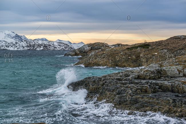 Sunset on Summary island facing the Iceland Edoya, Norway