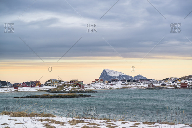 Coastal landscape on the island of Summary overlooking the island of Hoja, Norway