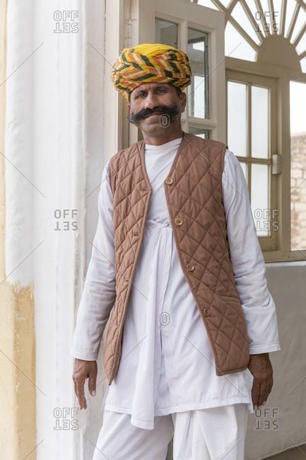 February 12,  2016: Portrait Fort Mehrangarh, Jodhpur, Rajasthan, India