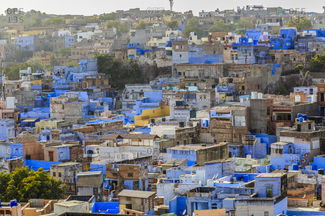 Painted building facades in Jodhpur, Rajasthan, India